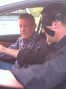 Curtis and Bobby Unser get ready for the blindfolded car drive.