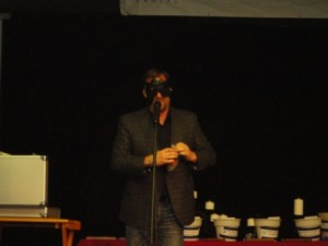 Curtis The Mentalist performs a blindfolded stunt for the students at Skills USA Leadership Conference.