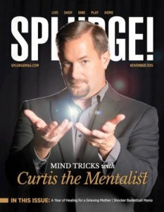 Curtis The Mentalist on the Nov 2015 Cover of Splurge Magazine