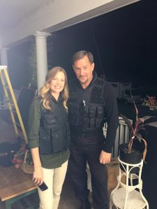 "Curtis The Mentalist with Actress Sarah Jane Morris on the set of the film ""Gosnell: The Trial of America's Biggest Serial Killer"""