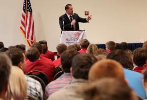 Curtis Waltermire delivers a motivational keynote speech to the Skills USA Kansas organization