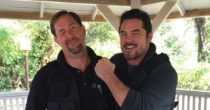 Horsing Around On Set of Gosnell with Dean Cain