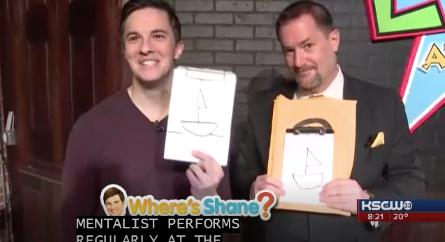Curtis The Mentalist draws an image that Shane Konicki was merely thinking about on KWCH 12 News Wheres Shane segment at the Loony Bin Comedy Club in Wichita, Kansas