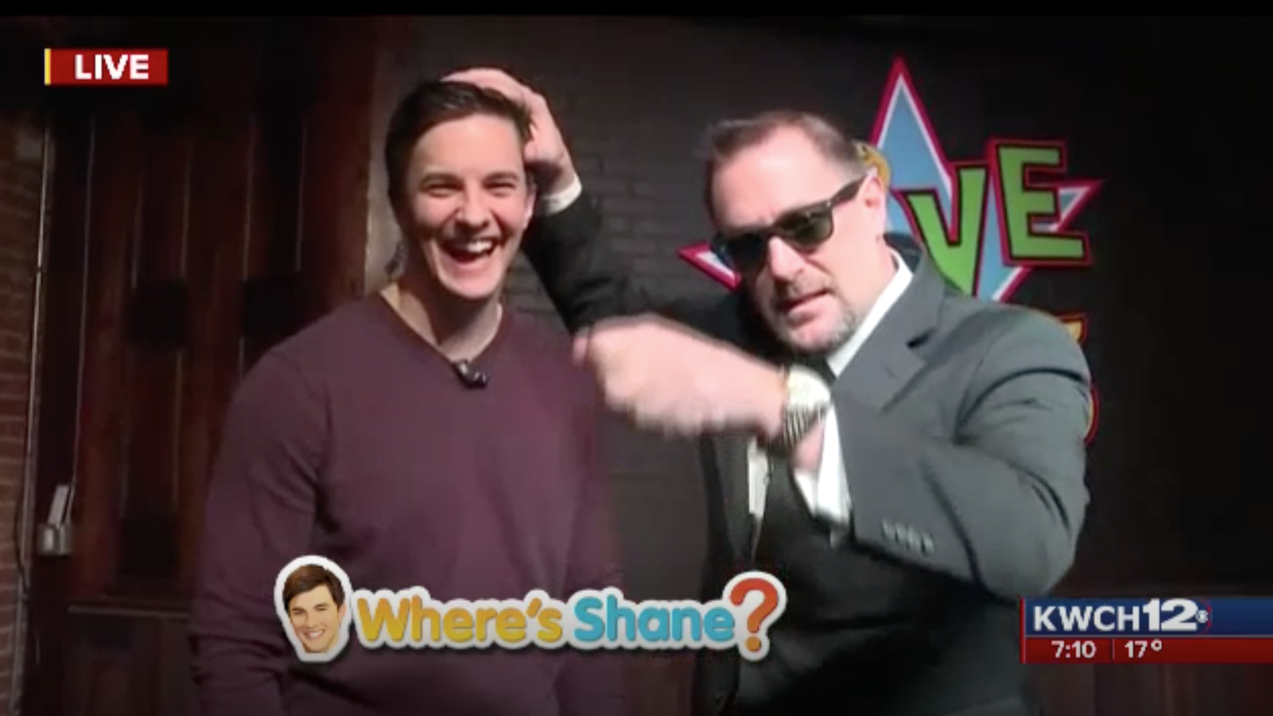 Curtis The Mentalist performs on TV channel KWCH 12 for Shane Konicky