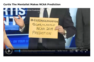 Curtis The Mentalist submits his prediction of the NCAA Men's Basketball Tournament in an envelope on KAKE TV News in Wichita Kansas.