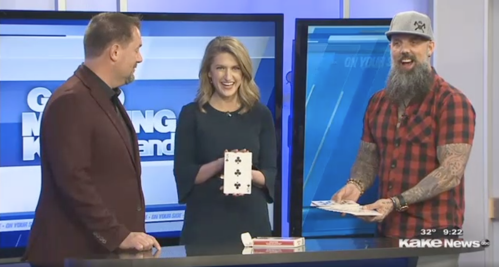 Curtis The Mentalist, Alyson Acklin, and Matt Johnson Perform a Card Trick on Good Morning Kakeland in Wichita, KS