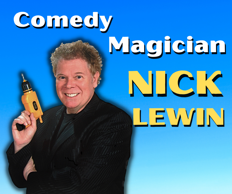 Comedy magician Nick Lewin poses with a drill, one of his magic props